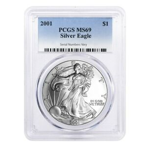 2001 1 oz Silver American Eagle $1 Coin PCGS MS 69