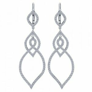 Pretty Leaf Shape 925 Pure Silver With 1.96CT Round Cubic Zirconia Drop Earrings
