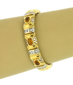 Estate 8.40ct Diamond & Citrine 18k Two Tone Gold Fancy Design Bracelet
