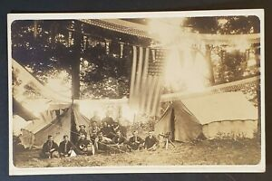 Mint Vintage Stoystown Pennsylvania Military Band Tents Real Picture Postcard $49.99
