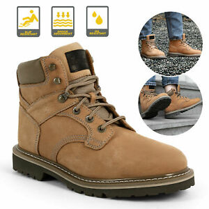 Brown Men#x27;s Work Boots Safety Genuine Leather Shoes Waterproof Anti Slip Cushion