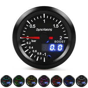 2 52mm Digital & Pointer 7 Color LED Car Turbo Boost Meter Bar Pressure Gauge