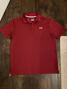 mens large under armour polo Red Euc