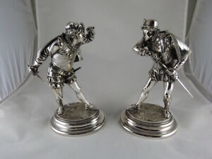 FRENCH SILVERED BRONZE SCULPTURES FIGURINES BY Emile Guillemin 1841 1907 $1650.00