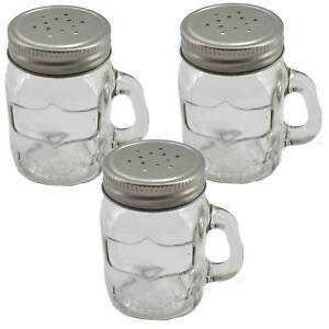 3x Spice Shaker Glass Screw Lid with Handle 3 1/8in Garden Barbecuing Salt