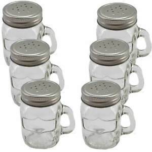 6x Spice Shaker Glass Screw Lid with Handle 3 1/8in Garden Barbecuing Salt