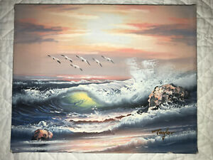 Vintage small beach seascape ocean hand painted original oil PAINTING by Taylor