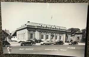 Antique 1940's Post Office Ludington Mich. Real Photo Postcard W/ Cars P-526