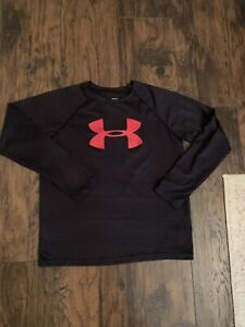 boys large under armour shirt Black Red Euc