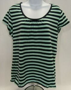 Women's XXL Navy Blue and Mint Green Striped Merona T Shirt