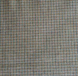 Green Tan Gray amp; White Stripe Check WOOL Sewing Fabric Med Wt 56quot; W x 2 Yards $29.95