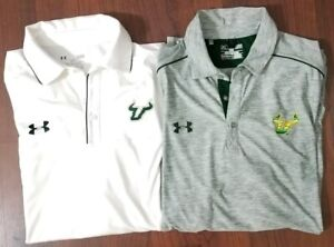 Lot of 2 Under Armour polo shirt Men Size Large USF Bulls