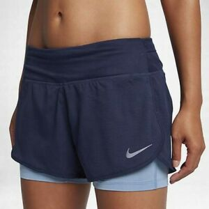 Nike Dri-Fit Women's Running Rival 2-in-1 Shorts in Navy Blue Size Small