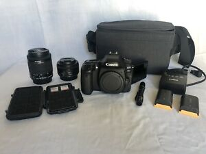 Canon EOS 80D 24.2MP Digital SLR Camera With Two Lenses Batteries