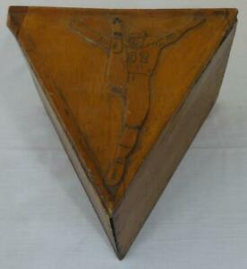Antique Hand Made & Carved Wooden Triangular Football Kicking Tee Box Holder