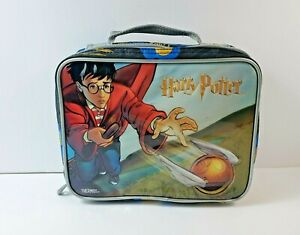 Vintage 2001 Harry Potter Quidditch Soft Lunch Box Bag Missing Thermos $14.99
