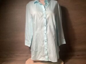 Coldwater Creek Womens No Iron LARGE 14  Button Up 3/4 Sleeve Shirt Blouse BLUE