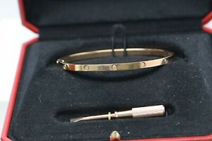 Cartier 18K Rose Gold with Diamonds Love Bracelet Hinged Design