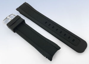 22mm or 24mm BLACK Silicone Rubber Band WATCH Strap with CURVED Ends
