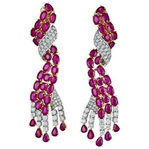 15.04CT Pink Rubies With Vivid White CZ Two Tone 925 Silver Pretty Women Earring