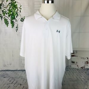 UNDER ARMOUR HEAT GEAR LOOSE WHITE LOGO MEN'S POLO SHIRT  SIZE 4XL NWT
