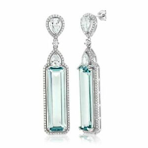 Art Deco 25.15CT Aquamarine & Cubic Zirconia 925 Sterling Silver Pretty Earrings