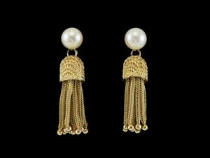 Wonderful Quality Victorian Style 14K Yellow Gold Natural Pearl Tassel Earrings