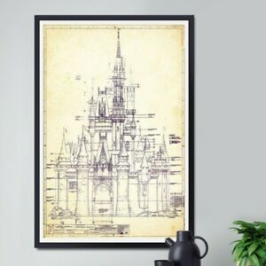 DISNEY WORLD Castle Blueprint POSTER! (up to 24 x 36) - Dated 1969 - Cinderella