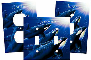 PERSONALIZED KILLER WHALE ORCA POD MOON LIGHT SWIM LIGHT SWITCH PLATE COVER