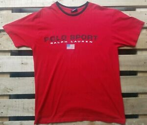 Vintage Polo Sport Ralph Lauren Spellout Medium Red Black Tshirt Made In USA