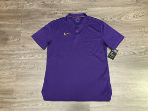 Nike Dry Dri-Fit Blade Golf Polo Shirt Purple Gold LSU Tigers Mens M 908411-549