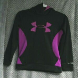 Girls UNDER ARMOUR Hoodie black pink purple size YOUTH SMALL Hooded Sweatshirt