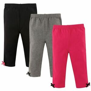 Hudson Baby Girl Baby Leggings with Ankle Bows 3 Pack Pink and Gray $12.99