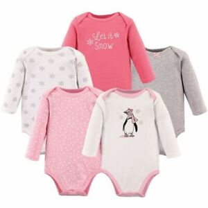 Hudson Baby Girl Long Sleeve Bodysuits 5 Pack Girl Penguin $16.99