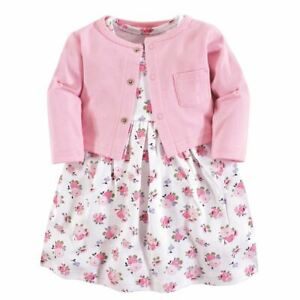 Luvable Friends Girl Dress and Cardigan Set Pink Floral $12.99