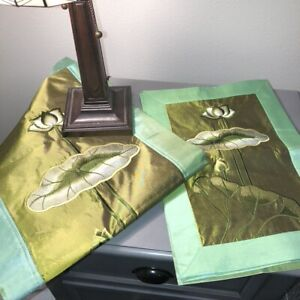 Set of 6 Asian Table Runner amp; 5 Placemats Green Embroidered Silk Lotus Flower $24.00