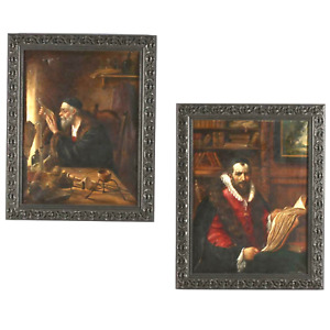 Antique Portraits Paintings Theodore du Bois French 1800s Two Scholars $1343.04