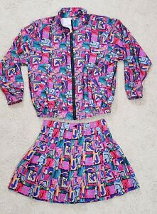 Prince Sportswear Tennis Suit Abstract Multi Color Women Sz M Jacket 8 Skirt Vtg