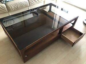 John Keal Design for Brown and Saltman Mid Century Table Glass Top Rect