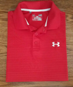 Under Armour Heatgear Golf Polo Shirt Red Loose Short Sleeve Mens Size Small