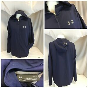 Under Armour Cold Gear Hoodie Jacket L Men Blue Poly Loose Zip Mint YGI J9 412 $28.10