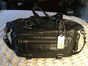 COACH CAMBRIDGE Satchel Black Leather Rare!