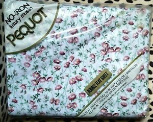 Vintage Pequot Luxury Mary Jane Floral Flowers Double Flat Sheet NEW Old Stock