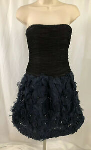 OSCAR DE LA RENTA Black Blue Strapless Beaded Ruched Silk Tulle Dress Size 2