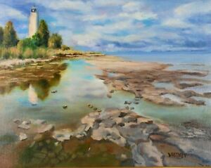 Door County Lighthouse Painting Rocky Shore Lake Michigan Original Oil Whitney $475.00