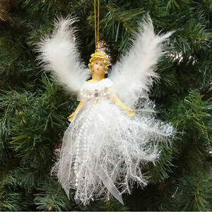 Diamond Crystal Angel Christmas Birthstone Tree Ornament with Winged Feathers