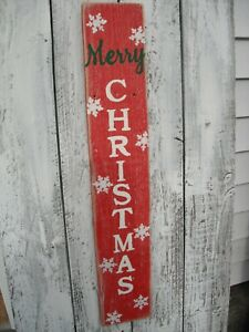 Wood Porch Sign Merry Christmas  Vertical  Distressed Red Handmade 30