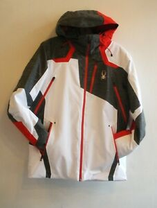 Spyder Mens Leader GTX  Ski Jacket -191018- White GreyRed- S - L- new