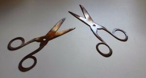 Small Scissors Set Sewing Room/Craft Room Laundry  Decor Copper/Bronze Plated