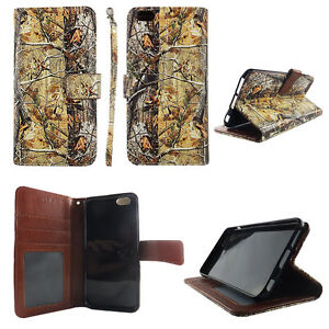 Flip Wallet Case Tree Camouflage for iphone 6 6s Plus Cash id Slot Stand Cover